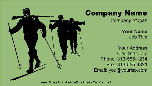 Skier business card