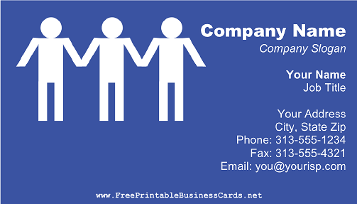 Social Worker Blue business card