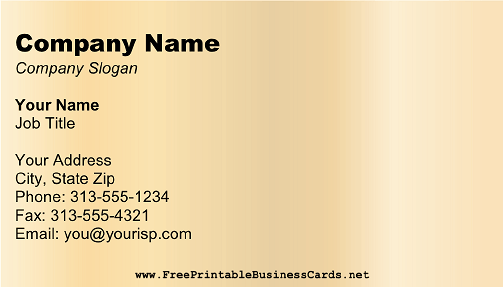 Light Gold business card
