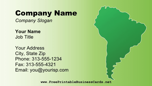 South America Business Card business card