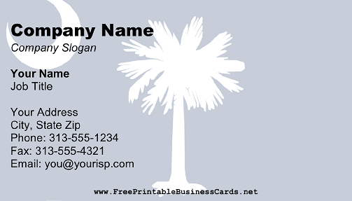 South Carolina Flag business card