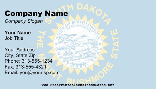 South Dakota Flag business card