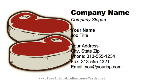 Steaks business card