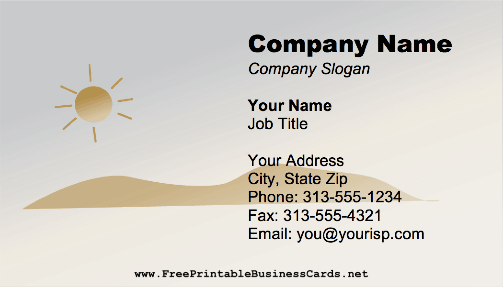 Sun And Sand business card