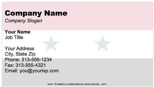 Syria business card