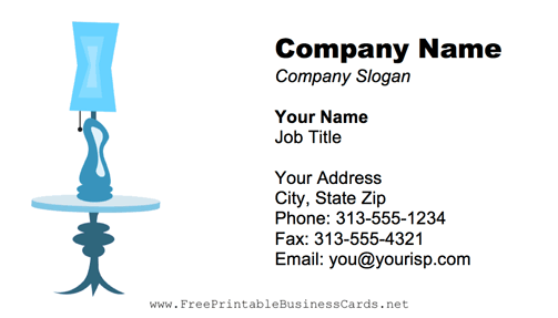 Table Lamp Blue business card
