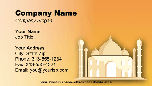 Taj Mahal business card