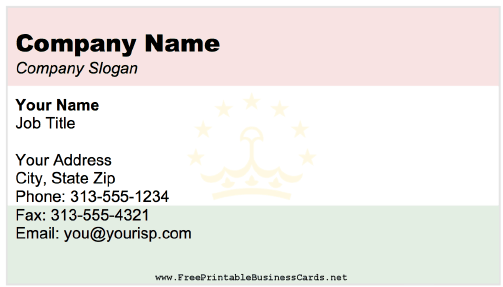Tajikistan business card