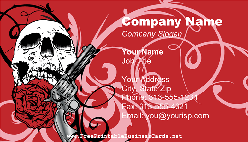 Skull Gun and Rose business card