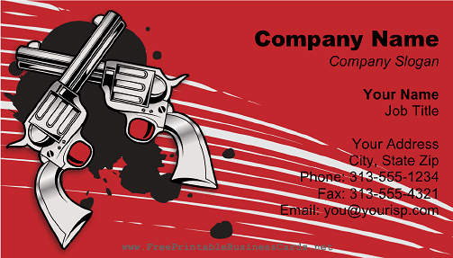 Two Guns Red business card