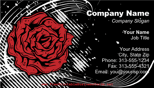 Modern Rose on Black business card