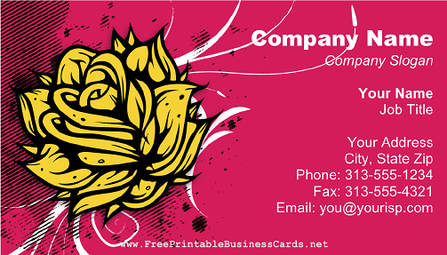 Yellow Rose business card