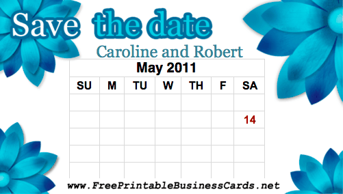 Teal Flowers Save the Date Card with calendar business card