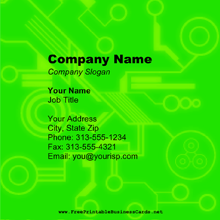 Green Tech Square business card