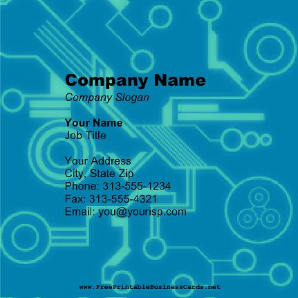 Blue Tech Square business card