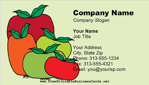 Tomatoes on Green business card