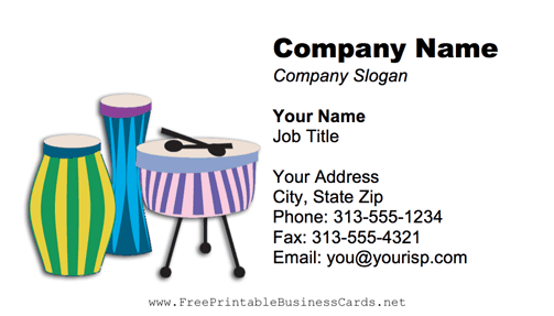 Tribal Drums business card