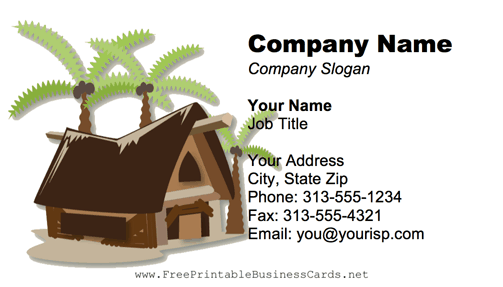 Tropical Cabin business card