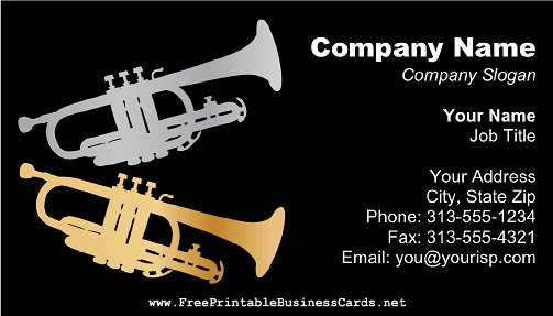Trumpets on Black business card