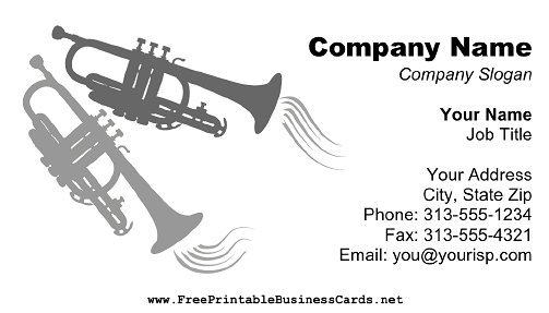 Trumpets on White business card