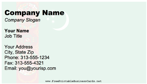 Turkmenistan Business Card business card