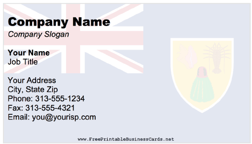 Turks And Caicos business card