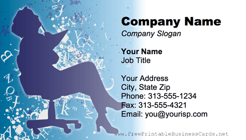 Typist Blue business card