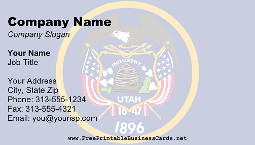 Utah Flag business card