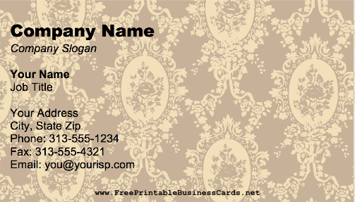 Bronze Victorian business card