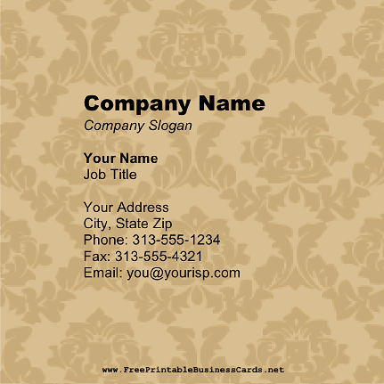 Beige Victorian business card