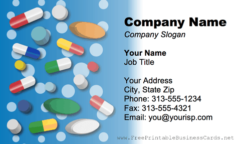 Vitamins And Supplements business card