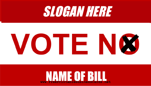 Vote No Sign business card