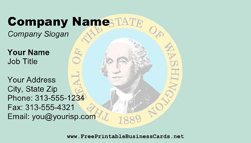 Flag of Washington business card