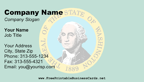 Washington Flag business card