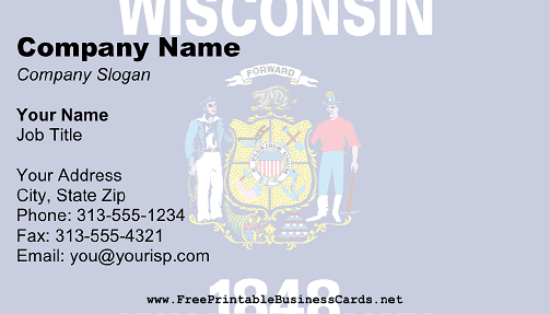 Wisconsin Flag business card