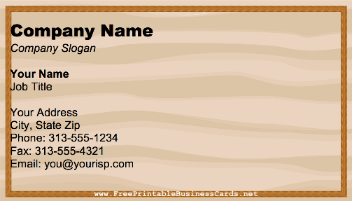 Wooden Panel business card