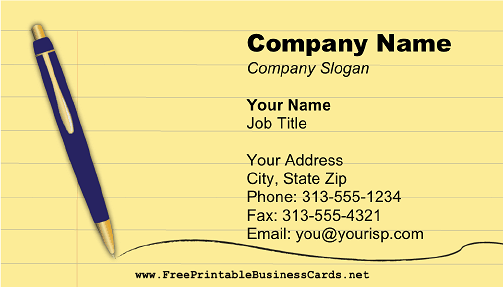 Legal Writer business card