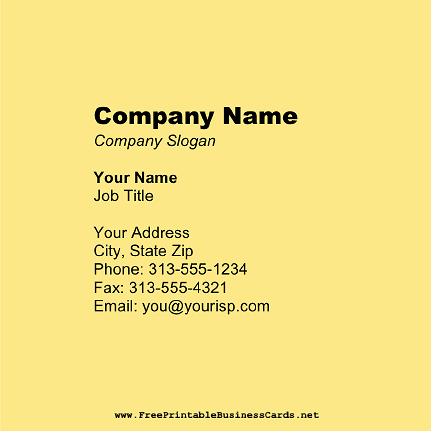Light Yellow Square business card
