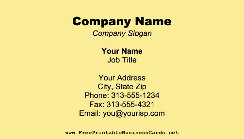 Pale Yellow business card