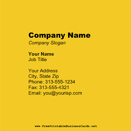 Dark Yellow Square business card