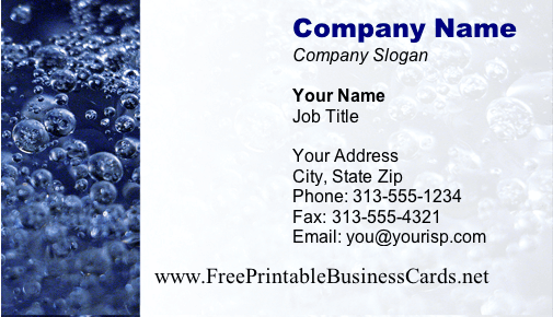 Bubbles business card