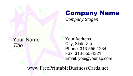 Kid Star business card
