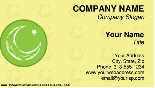 Star and Crescent business card