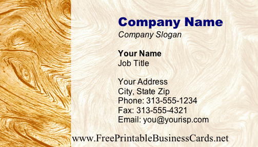 Wood #3 business card