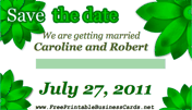 Green Floral Save the Date Card