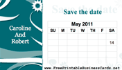 Flower Save the Date Card with calendar