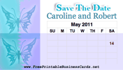 Pastel Butterfly Save the Date Card with calendar