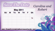 Purple Save the Date Card with calendar