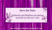 Purple Save the Date Card