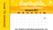 Yellow Flowers Save the Date Card with calendar